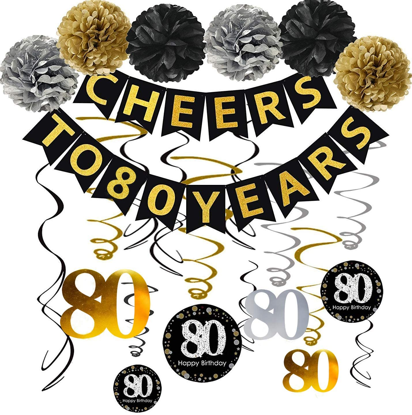 80th Birthday Party Decorations Kit - Gold Glittery Cheers to 80 Years Banner,Poms,12Pcs Sparkling 80 Hanging Swirl for 80th Anniversary Decorations 80 Years Old Party Supplies