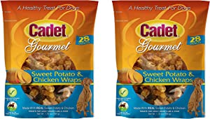 Cadet 2 Pack of Sweet Potato and Chicken Wraps Dog Treats, 28 Ounces Each