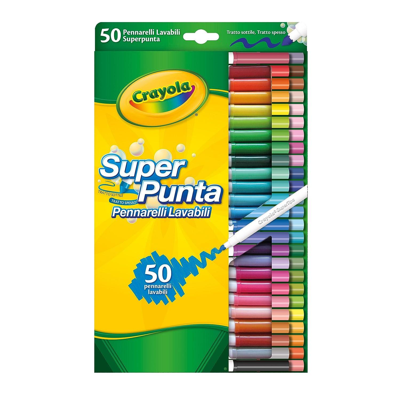 per Scuola e Tempo Libero 50 Pezzi 7555-50 Punta Media CRAYOLA Pennarelli Lavabili Colori Assortiti
