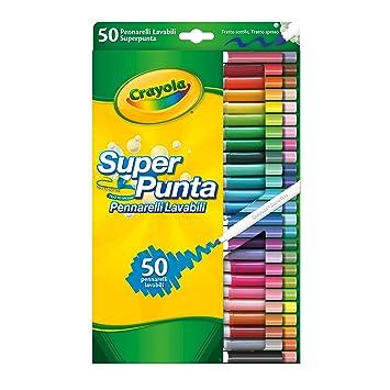 Crayola 7555 - 50 Rotuladores Súper Punta Lavables: Amazon.es ...