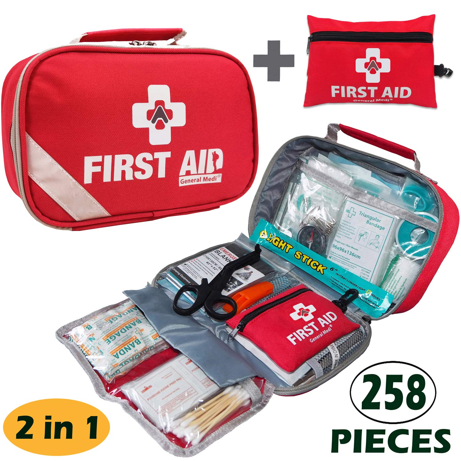 2-in-1 First Aid Kit (215Piece) + Bonus 43Piece Mini First Aid Kit -Includes Eyewash, Ice(Cold) Pack, Moleskin Pad, CPR Face Mask & Emergency Blanket for Travel, Home, Office, Car, Workplace by General Medi
