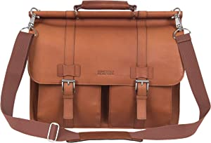 """Kenneth Cole Reaction Colombian Leather Dual Compartment Flapover 15"""" Laptop Dowelrod Business Portfolio, Cognac"""