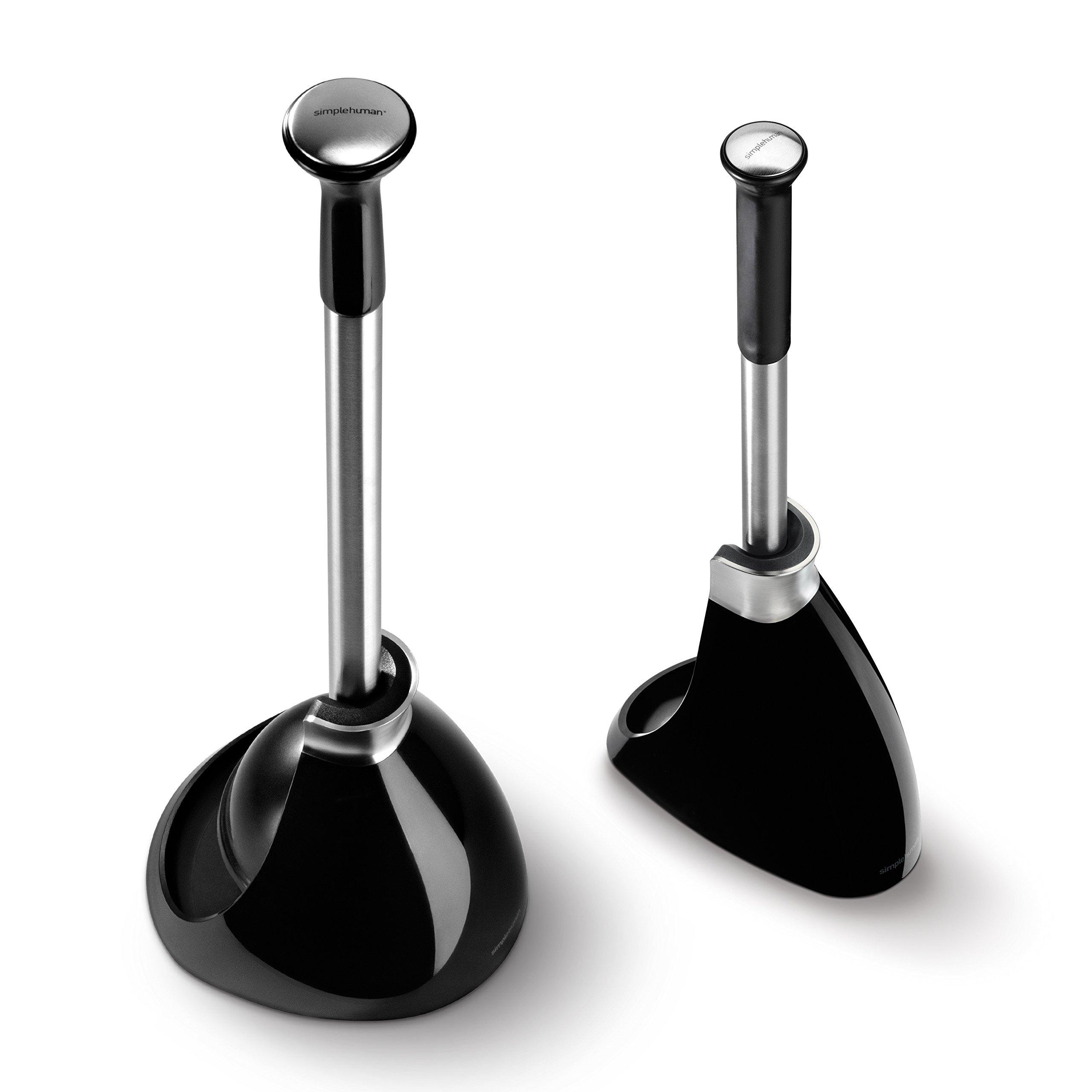 simplehuman toilet brush and toilet plunger set black