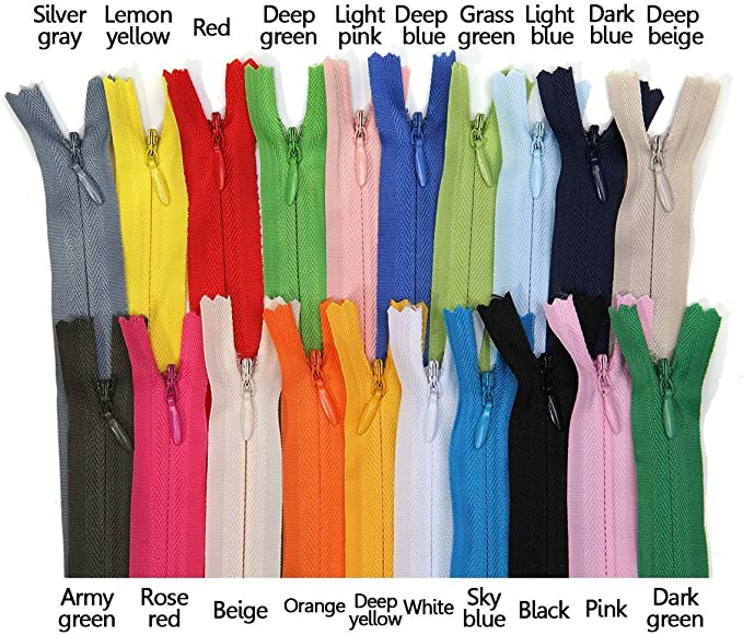 11 inch, Mix Color Leekayer 38PCS Invisible Nylon Coil Zipper,Clothing Zipper,DIY Sewing Tools for Craft Special