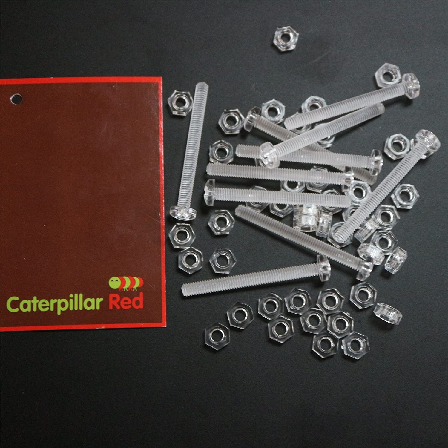 Acrylic Plastic Screws 5//32 x 1-37//64 Caterpillar Red Pack of 60 Transparent Clear Plastic Acrylic M4 x 40mm Nuts /& Bolts