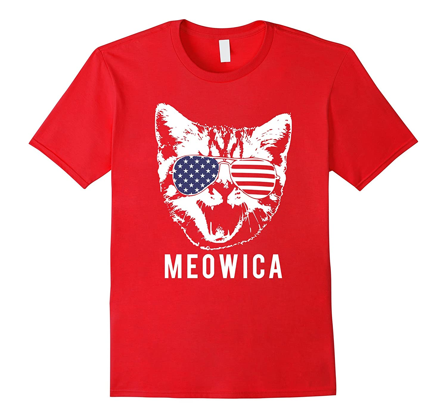 Meowica Funny Patriotic Cat 4th of July T-shirt-PL