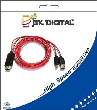 JSK Digital MHL USB a HDMI HD TV Cable adaptador para Samsung Galaxy Tab 3 10.1 8.0 Tablet (1 Meter): Amazon.es: Electrónica