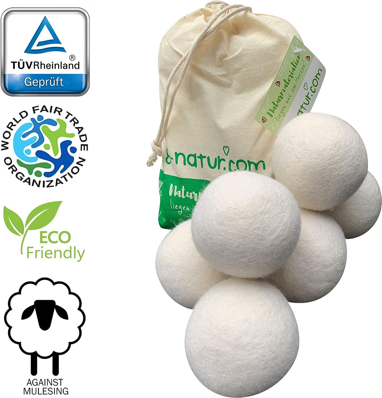 8-natur Bolas de Secadora extragrandes XXL, Paquete de 6: la Alternativa Natural a los Productos químicos, Hecha de Lana Merino 100% Pura