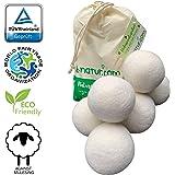 8-natuur extra grote XXL-drogerballen per 6 stuks – het natuurlijke alternatief voor chemische producten van 100% pure merinowol. Zachte handdoeken komen sneller uit de wasdroger.