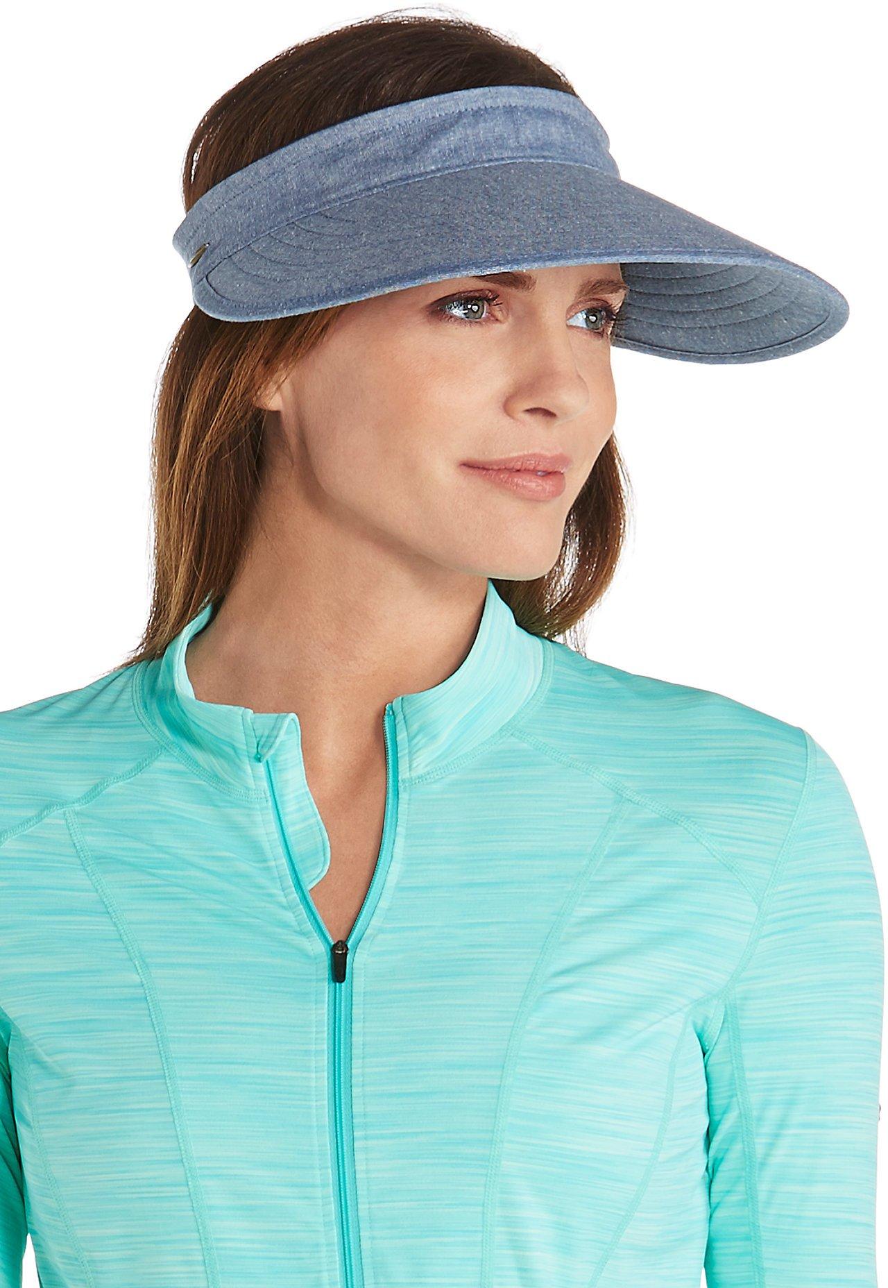 Coolibar UPF 50+ Women's Bel Aire Zip-Off Sun Visor - Sun Protective (One Size- Chambray)