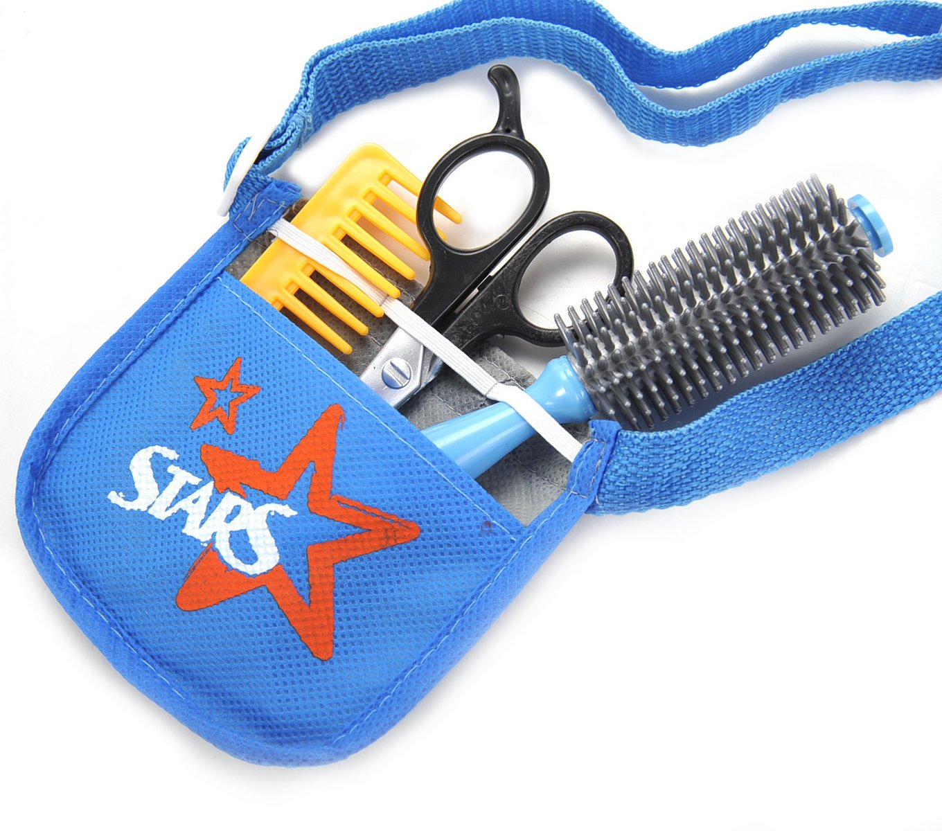 AMPERSAND SHOPS Professional Hair Stylist Barber Shop Salon Toy Set with Hair Dryer Brush Comb Curling Iron Shaver Scissors and Tool Belt Blue by AMPERSAND SHOPS (Image #2)