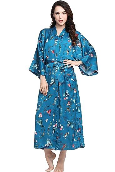 Artideco Womens Kimono Dressing Gown Satin Kimono Robe Long Chinese