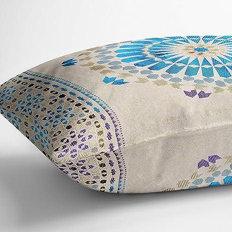 Moroccanity Funda de cojín de Estilo marroquí con Textura de Jacquard de Seda con patrón geométrico Dorado, 70 x 50 cm, Turquoise & Purple, 70 x 50 cm