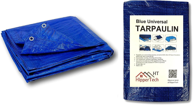 Lona impermeable HipperTech color azul 4 m x 5 m, polietileno y laminado, 60 g//m/²