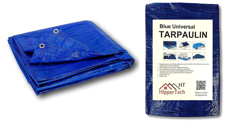 2 m x 3 m, 3 m x 4 m, 4 m x 6 m color azul HipperTech Lona impermeable de polietileno y laminado