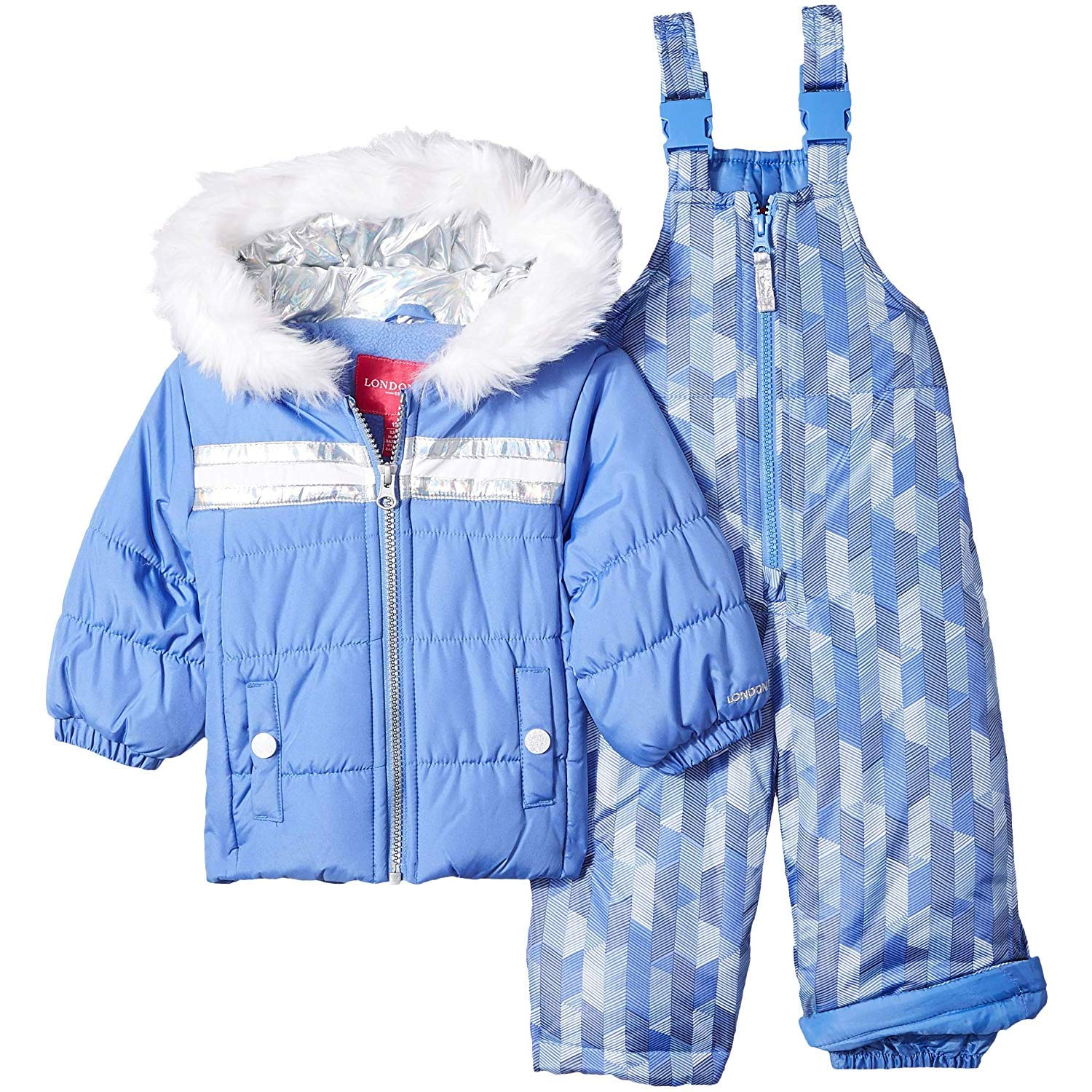 London Fog Girls' Toddler Snowsuit with Snowbib and Puffer Jacket, Lavender Blue Periwinkle, 2T by London Fog