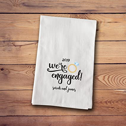 Amazon Com A Gift Personalized Tea Towels Engagement Marriage
