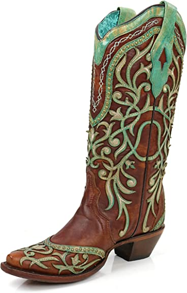 Womens Leather Cowboy Boots Turquoise Overlay Studs Embroidered Snip Toe