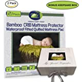 """Crib Mattress Protector Pad 2/pack ORGANIC BAMBOO All-IN-ONE crib sheets / protector by Green Comfy Baby WATERPROOF fitted sheet crib pad cover 11"""" NO CHEMICAL HYPOALLERGENIC BLOCK DUST MITE"""