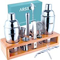 ARSSOO Professional Bartender Kit - 15PC Cocktail Kit Set with Stylish Bamboo Stand - Double Large Capacity Shakers…
