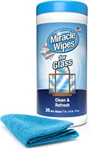 MiracleWipes for Glass - Disposable, Streak Free Cleaning Wipes for Mirrors, Windows, Home and Auto - (30 Count)