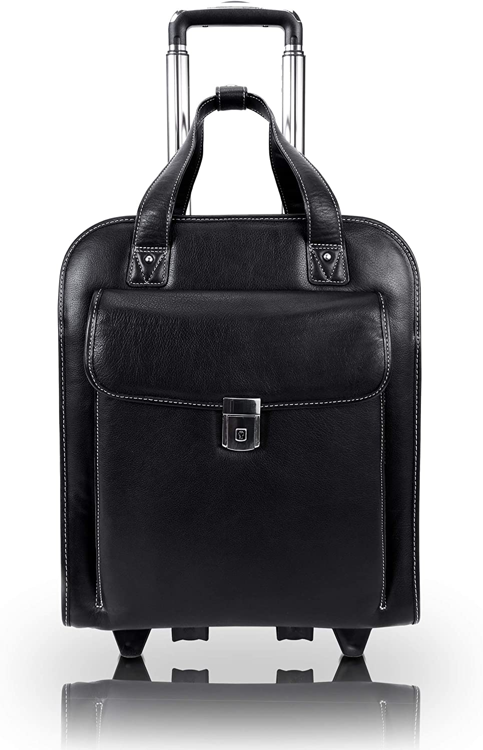 "McKlein USA Pastenello 15.6"" Leather Vertical Patented Detachable Wheeled Laptop Briefcase"