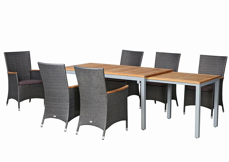 13-teilige Luxus Aluminium Teak Polyrattan Geflecht Gartenmöbelgruppe Venice , 6 Diningsessel, 6 Auflage und ein Ausziehtisch Tifosi 160/280x90, silber - titan
