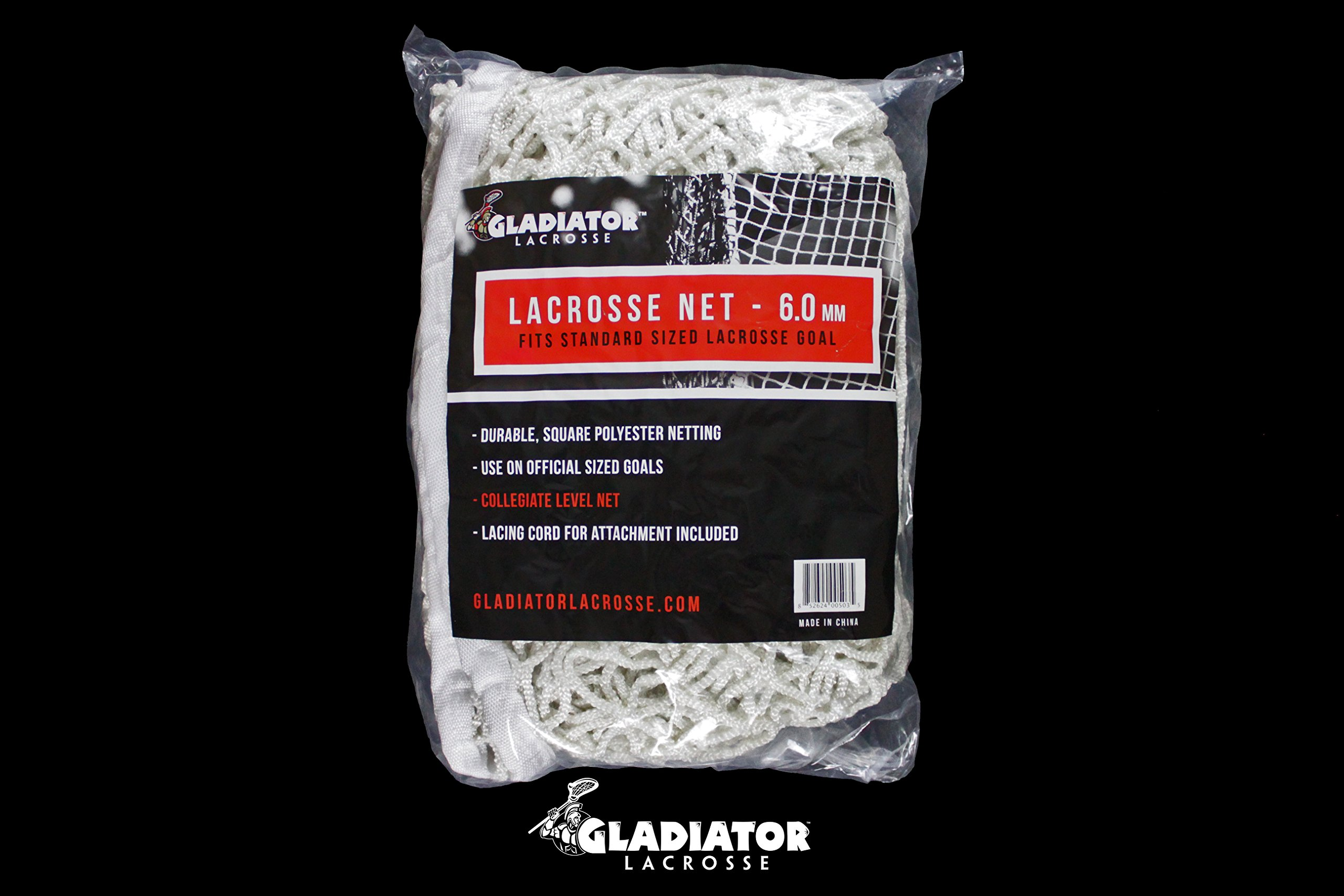 6mm Heavy Duty Replacement Lacrosse Goal Net 6'x6' for Backyard Goals - Gladiator Collegiate Level by Gladiator Lacrosse