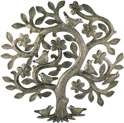 Vineworks Fair Trade 17 Tree of Life Haiti Steel Metal Drum Art Summer Birds 17 x 17