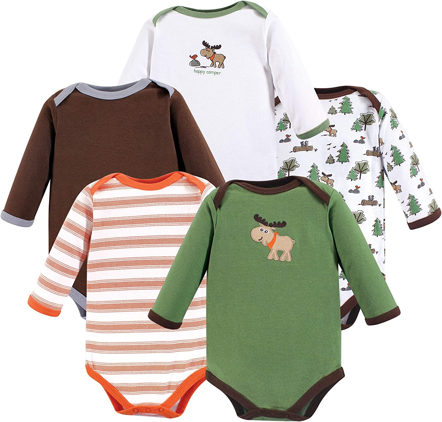 White Long Sleeve Luvable Friends Boy and Girl Long-Sleeve Bodysuits 7-Pack