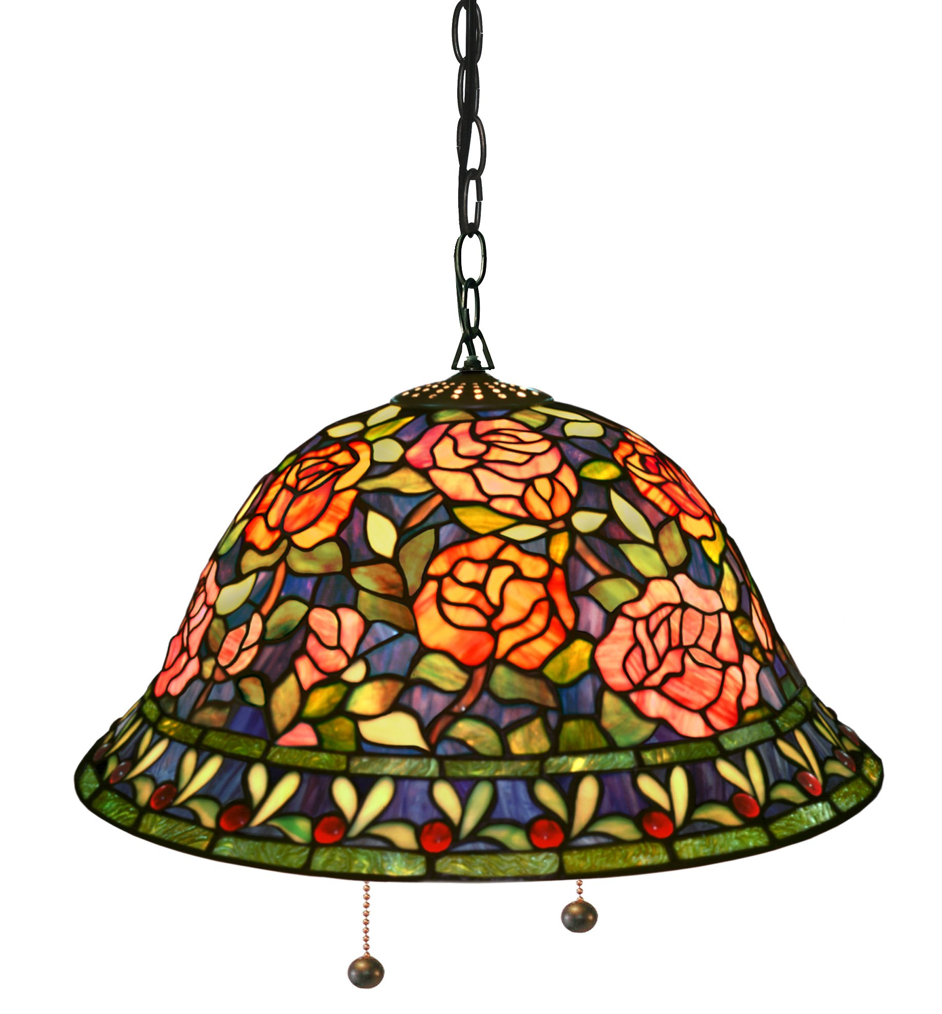 Warehouse of Tiffany's ES-93 Tiffany-Style Southern Belle Rose Hanging Lamp, One Size, Multi-Color