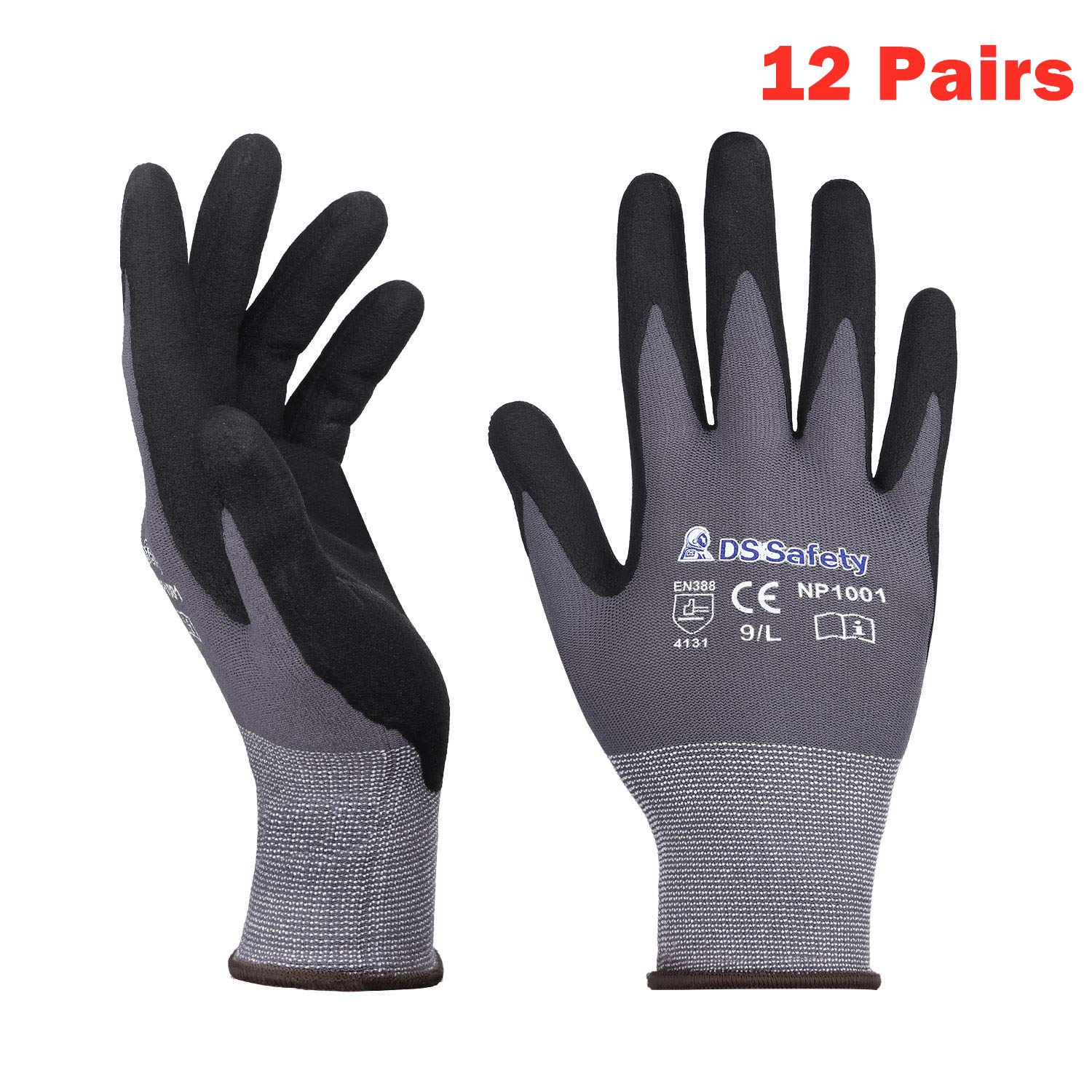 DS Safety NP1001 Nylon Knit Work Gloves with Micro Foam Technology & Spandex Liner Nitrile Coated Work Gloves CE Approved 15 gauge Ergonomic Design Men's Thin Working Gloves 12Pairs (Large)