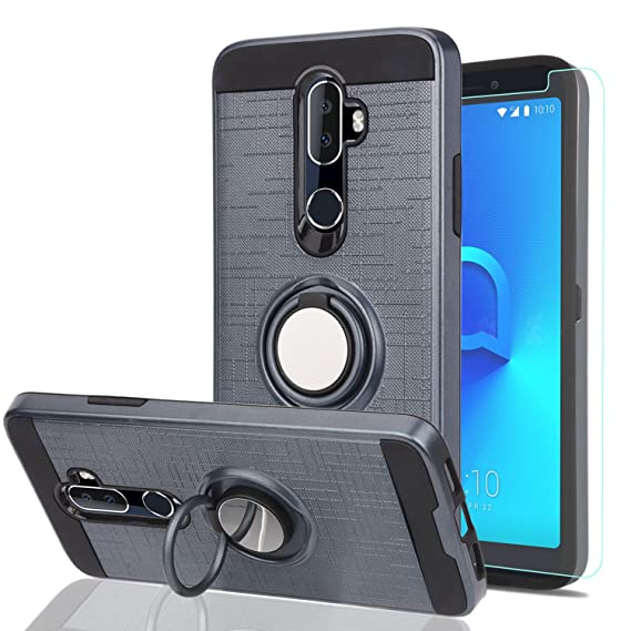 new concept 30acc b4f30 Alcatel 3V Phone Case with HD Phone Screen Protector,Ymhxcy 360 Degree  Rotating Ring & Bracket Dual Layer Resistant Back Cover for Alcatel 3V-ZH  Metal ...