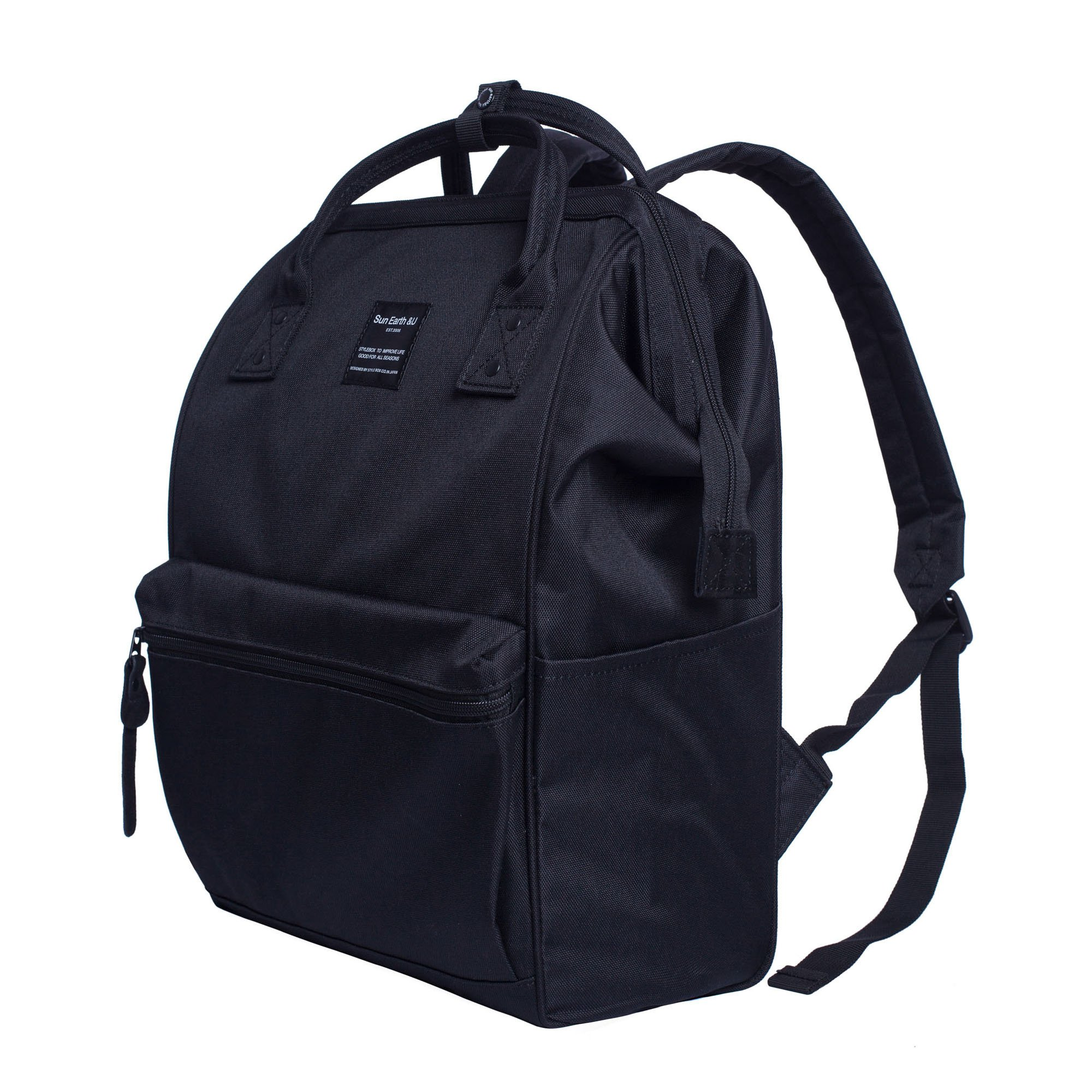 Canvas School Backpack, Waterproof College Laptop Bookbag, Wide Opening Large Capacity Big Student Bag, Multi-Functional Travel Backpack for Men and Women-Black