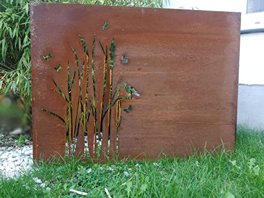 Zen Man - Rejilla de protección de Pared para jardín (Chapa de Acero, 100 x 75 x 1 mm): Amazon.es: Jardín