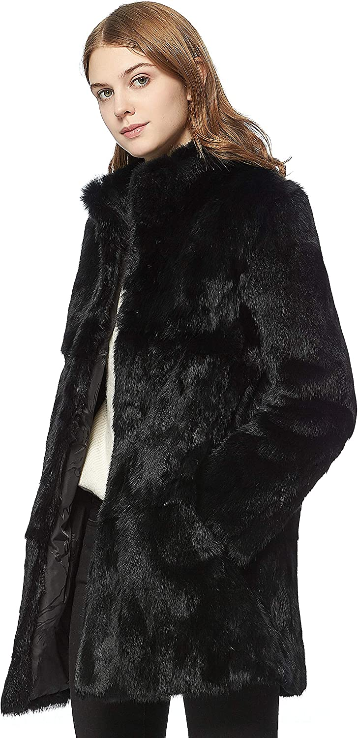 Fur Story Womens Genuine Rabbit Fur Coat Fuzzy Warm Fur Jacket Winter Outware