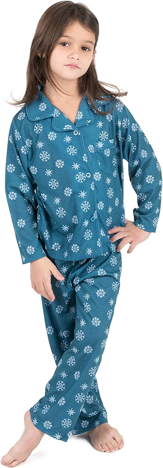 Leveret Kids Button Down Pajamas Boys & Girls 2 Piece Christmas Pajama Set (Size 2-14 Years)