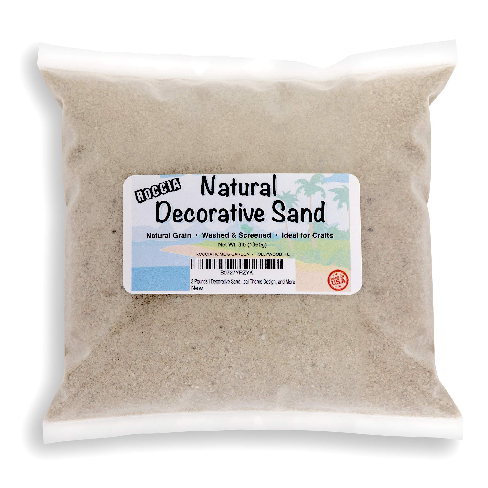 3 Pounds - Real Sand - Natural Color - for Interior Decor, Vase Filler, Sand Crafts, Nautical Theme Design, and More