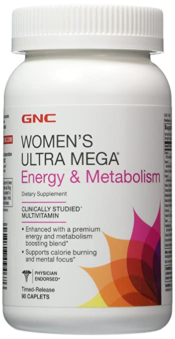 GNC Womens Ultra Mega Energy and Metabolism 90 Caplets Pack of 2. Total 180 Caplets