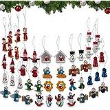 Set of 48 Pcs Mini Wooden Christmas Tree Ornaments - Santa Claus,Snowman, Angels,Tiny Hanging Vintage German Style Petite Min
