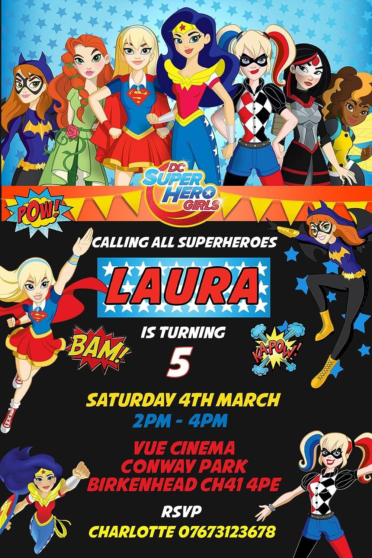 DC niñas superhéroe cumpleaños invitaciones y sobres - , 20 ...