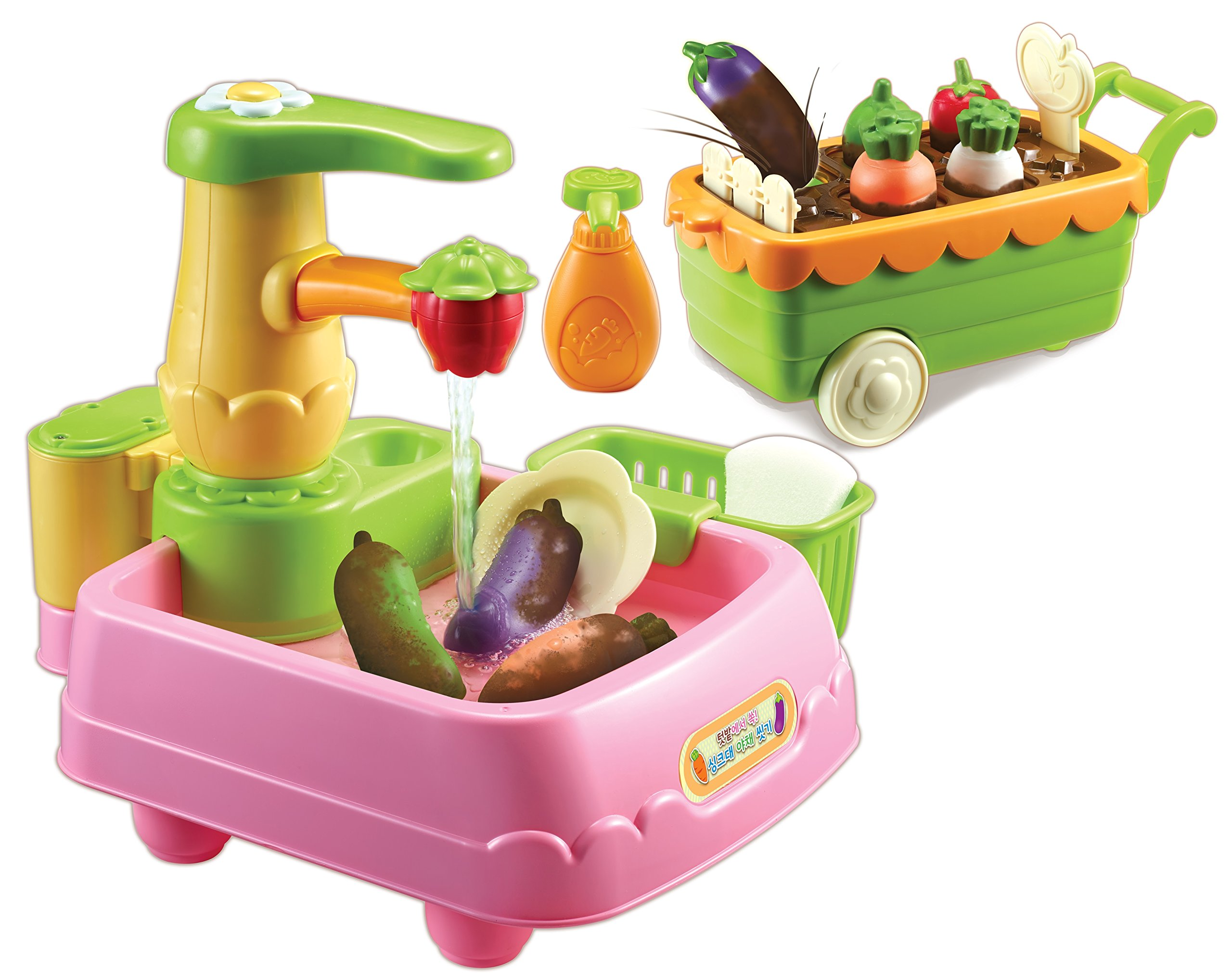 KONGSUNI Series Veggie Wash Vegetable Playset Cooking Kitchen Play Set for Kids Early Age Development Educational Roleplay Food Assortment Set Chef playset Toy Sink