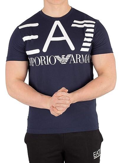 5de0b5c2 Emporio Armani EA7 Logo T-Shirt (Large, Navy Blue): Amazon.co.uk: Clothing