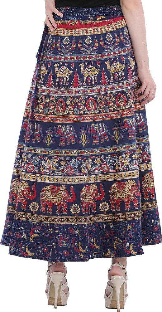 Exotic India wrap-on falda larga con estampado de elefantes ...