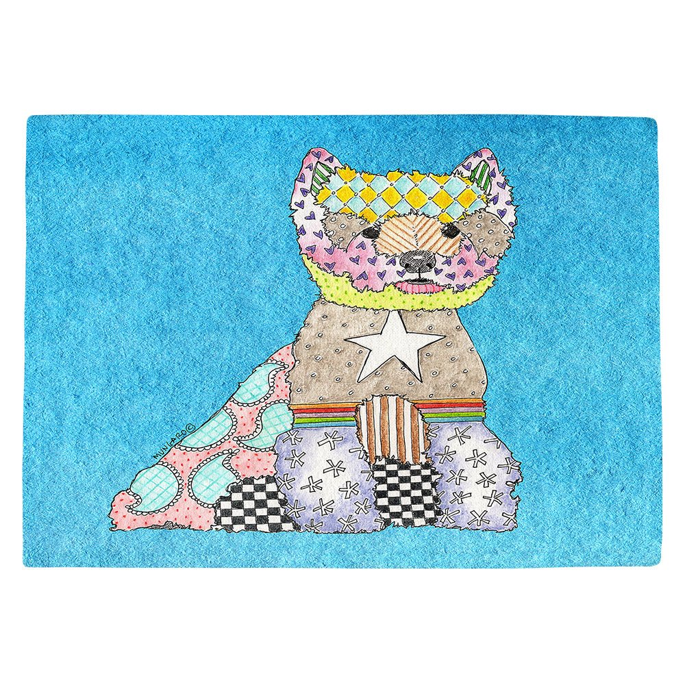 DIANOCHEキッチンPlaceマットby Artist Marley Ungaro – Westie Aqua Set of 4 Placemats PM-MarleyUngaroWestieAqua2 Set of 4 Placemats  B01N8SR0VC
