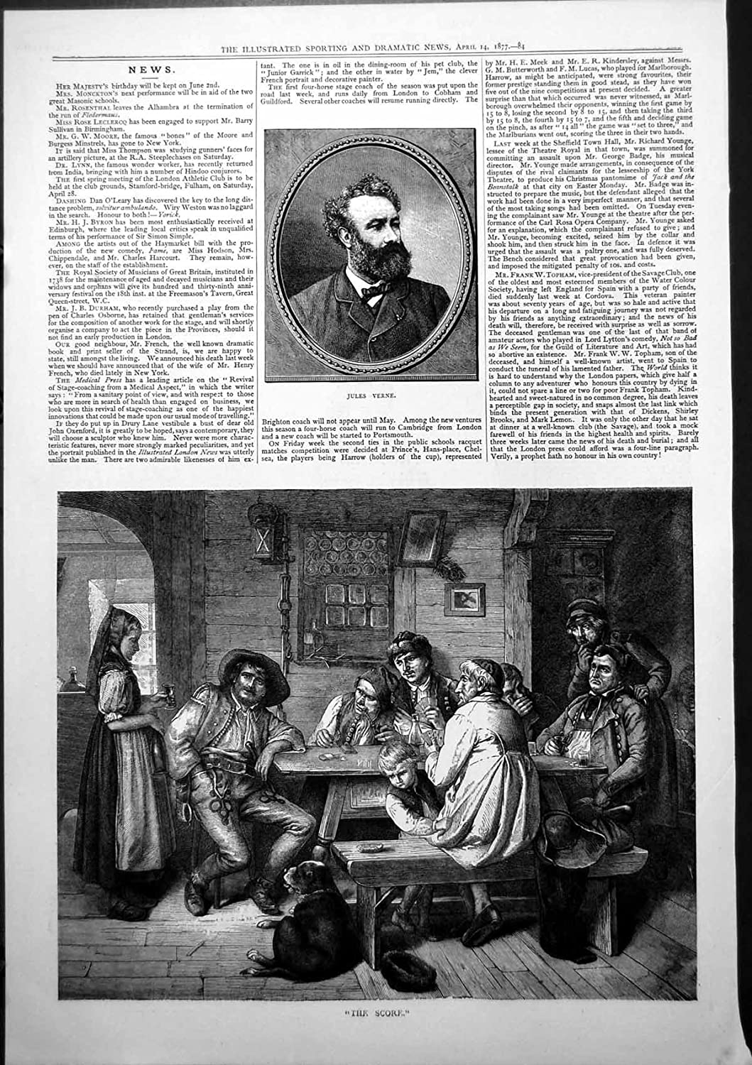 Jules Verne The Score Men Drinking Playing Cards Table Woman 1877 735J779 old-print