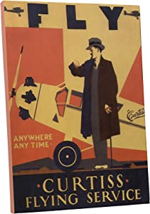 "Pingo World 0616QPJF27G Curtiss Flying Service Vintage Advertising Poster Gallery Wrapped Canvas Wall Art Print (20"" x 16""), Variable"