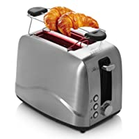 BESTEK Edelstahl Toaster mit Brötchenaufsatz, 7 Bräunungsstufen und 2 Brotscheiben, 850 W