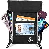 Brustbeutel Brusttasche mit RFID-Blocker für Damen und Herren, BEZ Versteckte Nackentasche mit mehreren Abteilen für Reisepässe, Leichte Tasche