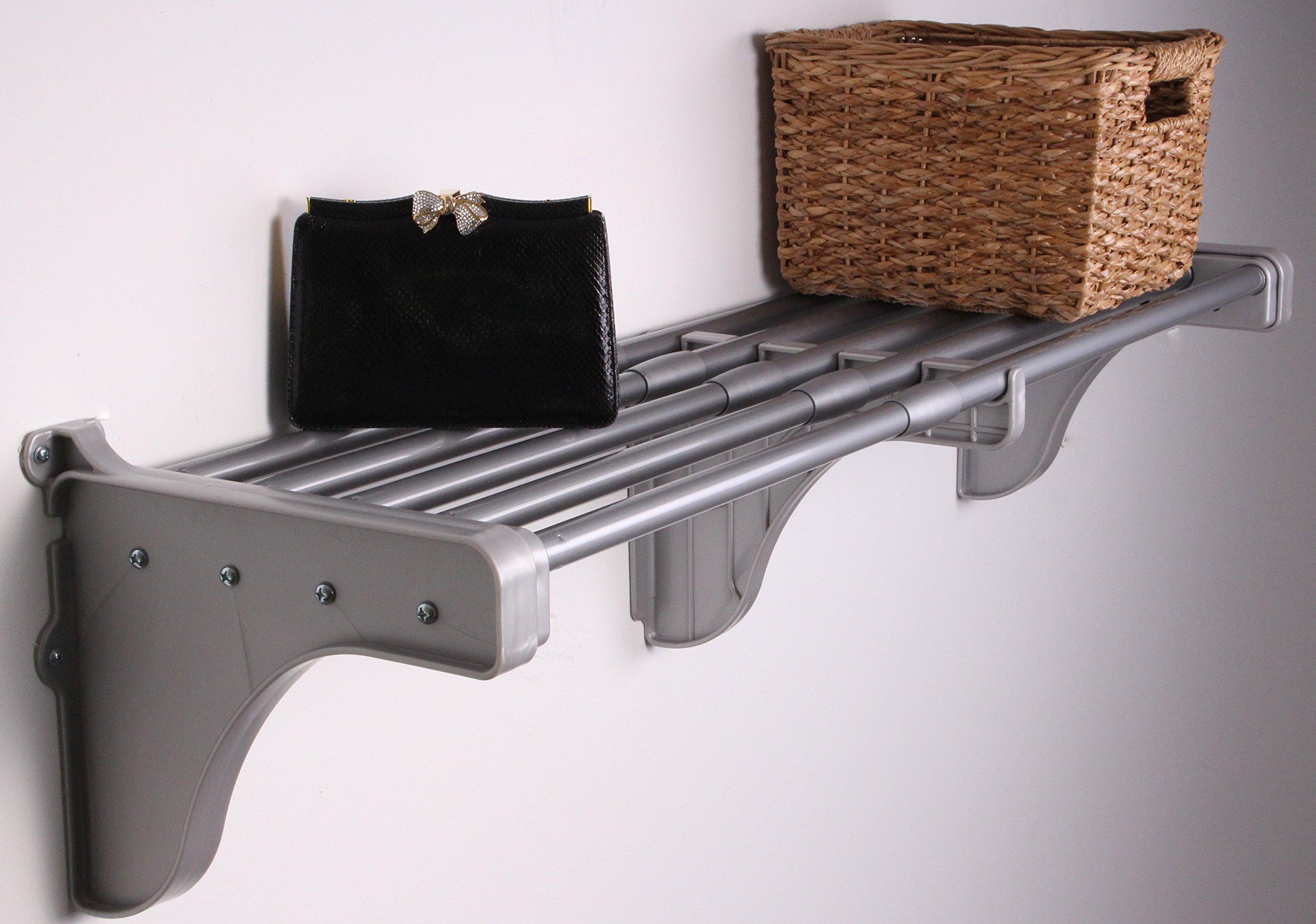 EZ SHELF - 40'' - 75'' Expandable Shelf - Silver - 2 Brackets